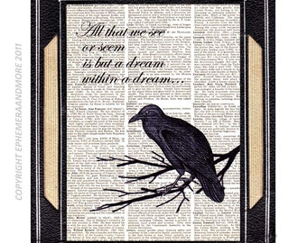 """NEVERMORE Raven Poe Quote """" All that we see or seem is a dream..."""" art print on vintage dictionary book page Edgar Allan Poe wall decor 8x10"""