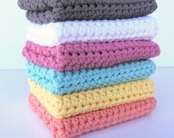 Crochet Dishcloths / Soft Washcloth / Kitchen Rag / Wash Rag / Farmhouse Washcloth / Cotton Dishcloth / Washcloth Set / Eco-Friendly Gentle