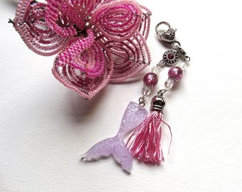 Bag Pink Purple glittery Mermaid tail charm beads Swarovski crystals and polaris tassel - girly - woman - mother's day gift idea