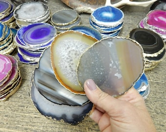 Agate Coasters Natural with Electroplated Gold Edge -  Agate Slices Natural Coasters - You choose  1, 4, 6, 8 Quantity  (OB4B9)