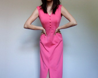 Hot Pink Maxi Dress Floor Length 70s Sleeveless Long Summer Dress - Small. Medium. S/ M