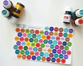 Essential Oil Cap Stickers - Single Oils, Young Living Blends/Specialty Oils Available