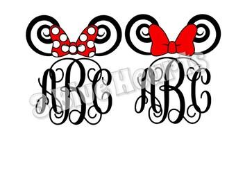 Minnie Swirling Ears Monogram svg dxf pdf jpg studio