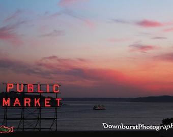 Sunset Photography,Seattle,Seattle Photography,Seattle Sunset,Public Market,Pike's Place,City Decor,Seattle Decor,Puget Sound,City Decor