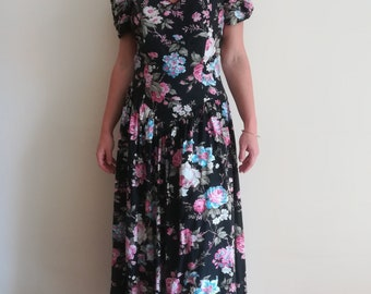 FLORAL Print OFF-SHOULDER Dress Woman Maxi-Dress Vintage 90 Black Cotton Fence Bustier Dress sz. 44