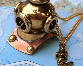 Nautical Steampunk Necklace Brass Diving Bell Helmet & Mermaid Pendant Jewelry Vintage Inspired Rustic Finish Scuba Diver Mask