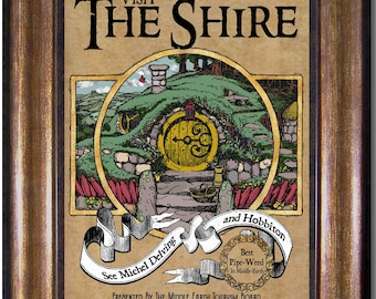 Lord of the Rings - Visit the Shire-  Visit Middle Earth  - Vintage Style Print - Sizes 5x7, 8x10, 11x14, 16x20, 18x24, 20x24, 24x36
