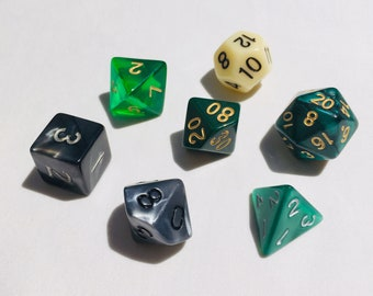 Polyhedral Dice Set - Slytherin - DnD Tabletop RPG