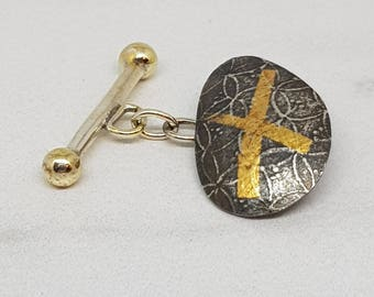 Joaquin by Fedha - oxidised silver and gold cufflinks with Keum Boo detail
