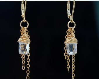 Cubic Zirconia earrings with Emerald-cut CZs, 14k Gold filed chain fringe and 14k Gold filled lever backs ~ PURE VIRTUE earrings