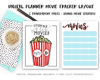 Digital Planner Pages - Movie Tracker Duo