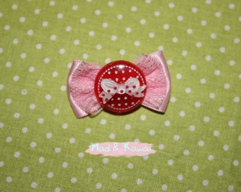 Pink and Red Bow brooch