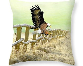Nature Throw Pillow, Bald Eagle, Accent Pillow, Eagle Pillow, Pillow Cushion, Home Decor, Couch Pillow, Wildlife Decor, Green and Brown