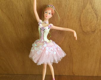 Vintage Ballerina Ornament Made of Solid Porcelain