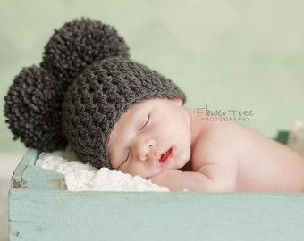 Newborn Pom Pom Hat, Charcoal Gray Newborn Hat, Newborn Photo Prop, Newborn Boy Hat, Boy Photo Prop, Newborn Neutral Hat, Newborn Girl Hat