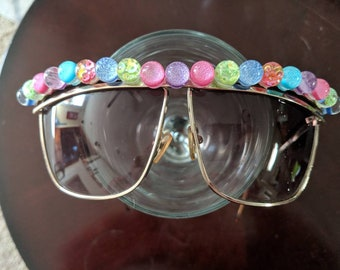 80's style large sunglasses with 3D bubbles of glitter and sequins gold frame sunglasses