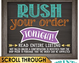 Rush Your Custom Order TONIGHT, Must Receive Confirmation from Shop Prior to Purchase, Receive by 11:59 pm EST if ordered before 7.00 pm EST