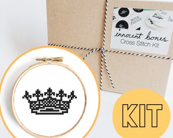 Crown Modern Cross Stitch Kit - easy chart design - includes thread, fabric, hoop, needle and instructions - counted cross stitch kit gift
