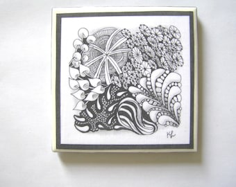 Coaster, zentangle designed