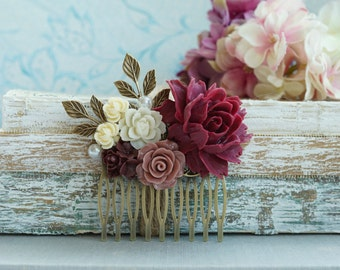 Burgundy Red Flower Comb Marsala Brown Antiqued Hair Comb Rustic Wedding Comb Brown Maroon Dark Red Gold Leaf Branch Flower Bridal Hair Comb