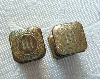 Vintage Snap Cuff Links Kum-A-Part Engraved Initial M