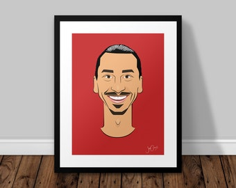 Zlatan Ibrahimovic Manchester United Illustrated Poster Print | A6 A5 A4 A3
