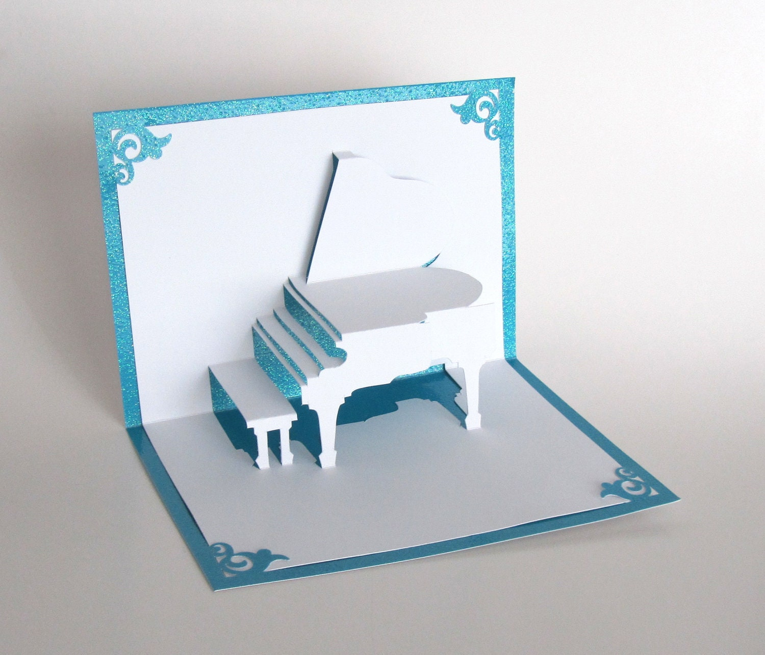 Grand piano 3d pop up greeting card handmade cut by hand zoom m4hsunfo