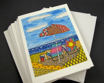 Beach Scene Stationery Set - Set of 8 Blank Inside Card Set - Beach Chairs & Umbrella Summer notecards