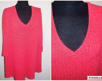 Top 4X Plus size Short Sleeve Shirt Knit Coral Color Light Weight Sweater