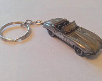 Jaguar E Type Series 1 Roadster ref102 3D split-ring keyring FULL CAR