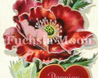 Digital Download Vintage Poppy Valentine
