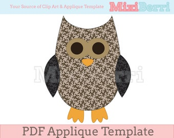 Applique Template Brown Owl PDF Instant Download