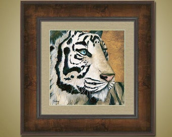 PRINT or GICLEE Reproduction -- Tiger Print Siberian White Tiger Endangered Animal -- Frost Bite