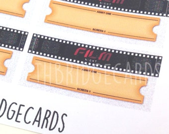 Film Night Stickers; Filofaxing; Erin Condren; Cute Stickers; Kawaii Stickers; Planner Sticker; Movie Stickers; Movie Night Stickers
