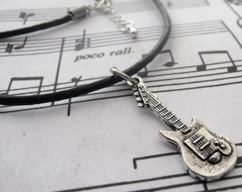 Guitar Necklace - Leather - Unisex- Tibetan silver