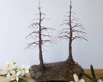 Rusted Wire Pine Trees on a rock and slate base