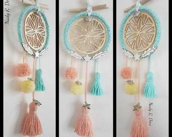 Dream catcher - Dreamcatcher turquoise and peach. drift wood