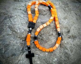 The Original MementoMoose Rosary Made with Lego Bricks - Orange, Black and Gray Catholic Rosary