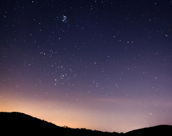 "star photo, blue ridge mountains, night landscape, Shenandoah, Virginia, seven sisters - 16x16, 12x12, 8x8 or 5x5 photograph, ""Stillness"""