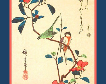 """Asian art. """"Flowers and Birds"""" in old Japanese style. Japanese antique art. Fine art. Japanese print."""