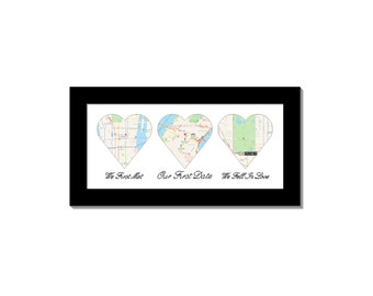 3 Heart Mat With 8 by 16-inch Self Standing Frame Including Black Pigmented Calligraphy, Engagement Bridal or Wedding Gift