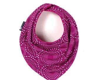 Drool bib - Vivid fireworks in grape scarf styled drool bib - modern - Scarf bib - Baby girl