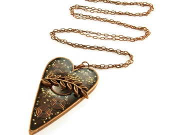 Orgone Energy Pendant - Large Antique Copper Toggle Heart - Carnelian Gemstone - Artisan Jewelry