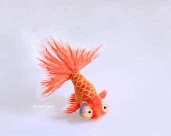 "Needle felted goldfish""Choutengan"""