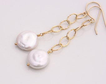 AA Coin Pearl Earrings, 14k Gold Filled, White Ivory Creamy, June Birthstone, Wire Wrapped, Oval Hammered Chain, Long Dangle Dangly - Vera