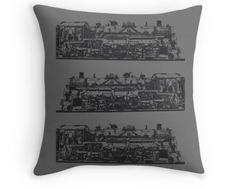 Vintage Locomotive Photo Pillow Cover, Steam Train, Man Cave Decor, Railfan Decor, Manly Home Decor, Industrial 1518, Boys Nursery Decor