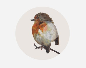 print, oil painting - Robin - the robin