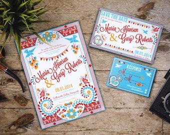 Mexican Wedding Invitation Set, colorful, Latin, embroidery, festive, ; Downloadable Custom; PDF