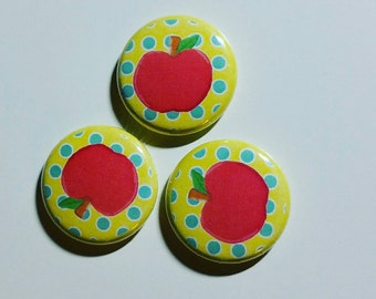 Pink Yellow Apple 1 inch pinback button set of 3