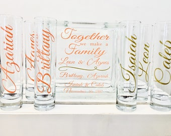 Family Blended Unity Sand Ceremony Glass Containers Set - Glass Block - Together we make a Family - Personalized - Side vessels - Coral Gold